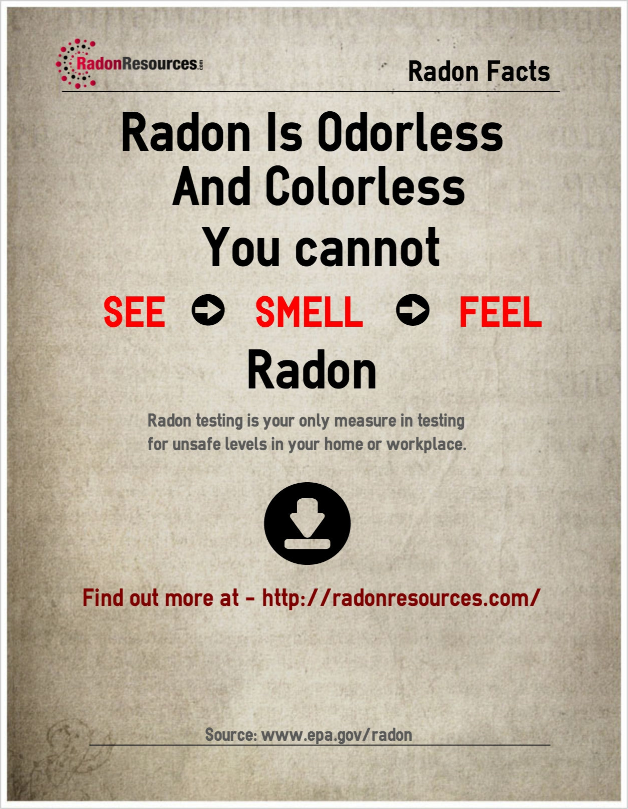 Radon is odorless and colorless. You cannot see, smell or feel radon gas